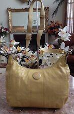 Coach Signature Stitched Patent CrossBody Messenger Handbag Yellow F19282