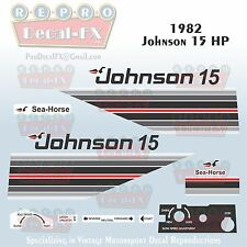 1982 Johnson 15 HP Outboard Reproduction 17 Piece Marine Vinyl Decal Sea-Horse