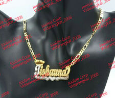 PERSONALIZED 14K GOLD PLATED DOUBLE NAME PLATE NECKLACE W/ ROLEX CROWN ,ANY NAME