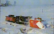 CN Rail Snow Plow Winter Storm 1987 Milford N.S. Canada, Railroad Train Postcard