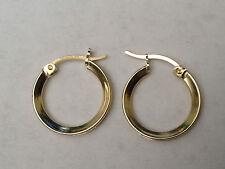Channel Set Round CZ All Way Around Hoop Dangle 14mm Earrings 14k Yellow Gold