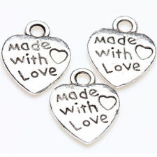 50pcs Silver MADE WITH LOVE Heart Pendants Beads DIY Bracelet Jewelry Acces