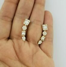 14K Yellow Gold Finish 3 CT VVS1 Baguette Diamond Climber Ear Crawler Earrings