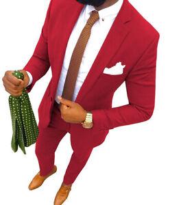 Formal Mens Blazer+Pant 3Piece Suits Notch Lapel Formal Tuxedos Groomsman 34-56+