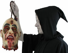 HANGING BURNT SEVERED HEAD RUBBER LATEX LIFE SIZE GORY HALLOWEEN PROP DECORATION