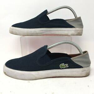 Lacoste Mens 9 Bellevue Slip Aur Casual Slip On Sneakers Blue Canvas Low Top