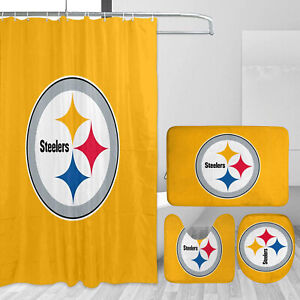 Pittsburgh Steelers 4Pcs Bathroom Rugs Shower Curtain Toilet Lid Cover Bath Mat