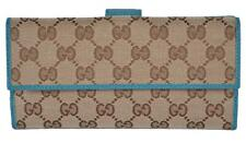 06f86f0cba60cd New Gucci 231841 Beige Cobalt Teal GG Guccissima Continental Wallet W/Coin