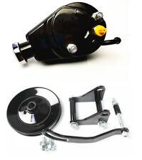 SBC Chevy SB Black Saginaw Power Steering Pump w/ Bracket & Pulley Kit