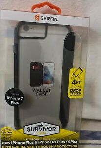 GRIFFIN Survivor Slim Clear Wallet Flip Case Cover For iPhone 8+/7+/6+/6S+
