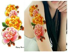 ROSE ROSA GIALLO Fiore Adesivi Tatuaggi Temporanei Body Art 3D ROSE IMPERMEABILE