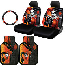 FOR CHEVROLET NEW HARLEY QUINN CAR SEAT COVERS FLOOR MAT STEERING WHEEL SET