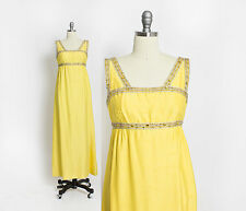 Vintage 1960s Dress I.Magnin Yellow Raw Silk Rhinestone Gown Empire Waist Small