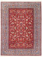 "Hand Knotted Wool Red Blue Floral Carpet Fine Isfahann Oriental Rug 8'9"" x 12'1"""