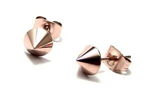 Rose Gold PVD Spike Stud Earrings Hypoallergenic Surgical Steel