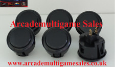 6 Black Sanwa OBSF30 arcade buttons