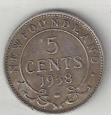 NEWFOUNDLAND, CANADA,  1938,  5 CENTS,  SILVER, KM#19, CHOICE EXTRA FINE