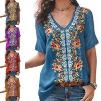 Women Floral T Shirt Beach Tee Blouse Summer Short Sleeve V Neck Loose Tops Boho