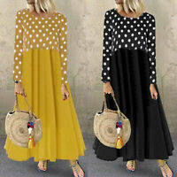Women Long Dot Casual Maxi Shirt Polka Dress Patchwork Sleeve