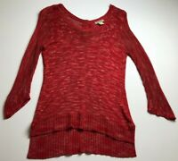 Lucky Brand Women's ¾ Sleeve Knit Sweater Small S Red Beige Sheer Scoopneck Fall