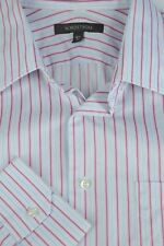 Nordstrom Men's White Pink & Blue Striped Cotton Dress Shirt 16.5 x 33