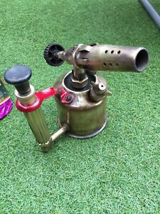 VINTAGE EARLY BRASS PLUMBERS BLOW LAMP TORCH BY APM MAX SIEVERT STOCKHOLM SWEDEN
