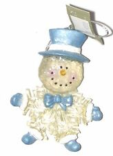 Snowman Resin Body & Glitter - Blue Top Hat - Hand Painted Ornament NEW!