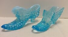 Fenton Blue Irridescent Hobnail Kitten Shoe & Daisy & Button w Bow Slipper Glass