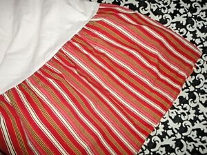 RALPH LAUREN CHAPS JULIETTE RED BLACK YELLOW STRIPE (1) QUEEN BEDSKIRT SPLIT 15""