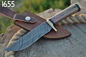 Custom Handmade HAND FORGED DAMASCUS STEEL Hunting Knife Fix Blade Knife +sheath