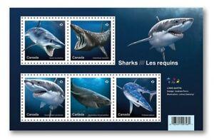 SHARKS = Predators = Souvenir Sheet of 5 stamps Canada 2018 MNH VF