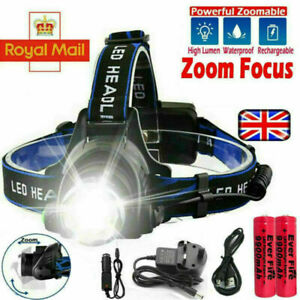 T6 Headlamp Rechargeable 350000LM LED Zoom CREE Headlight Head Torch & USB Line