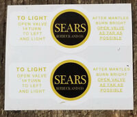 TWO (2) BRAND NEW COLEMAN EARLY SEARS LANTERN YELLOW BLK STICKERS LABELS DECALS