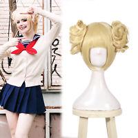 My Boku No Hero Academia Himiko Toga Short Blonde Bangs Buns Cosplay Hair Wig