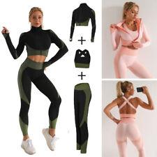 Mujeres Mangas Largas Yoga Set Brassiere Traje De Deporte Con Cremallera Top Entrenamiento Ropa Gimnasio Fitness
