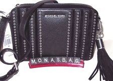 Michael Kors  Large EW Black Leather Mini Grommets Crossbody Bag NWT $298