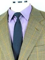 42R Brooks Brothers Mens Wool 2 Button Blazer Sport Coat Sand Houndstooth Mint!