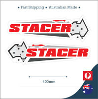 Stacer Australia Flag red grey Fishing Boat, Mirrored Sticker Decal Set of 2