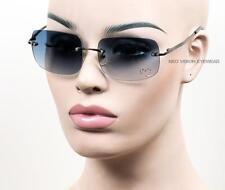 Sin Montura Rectangular Estilo Vintage Estrás Gafas de sol metálicas Azul/Gris