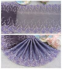 "9.5""*1Y Embroidered Tulle Lace Trim~Amethyst Purple+Purple+Light Pink~Gorgeous~"