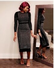 Rhinestone Black Mid Length Dress