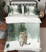 3D Snow Leopard A35 Animal Bed Pillowcases Quilt Duvet Cover Set Queen King Zoe