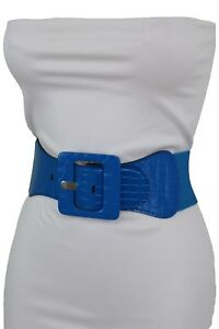 Women Casual Fashion Belt Wide Sky Blue Stretch Band Square Buckle Size M L XL