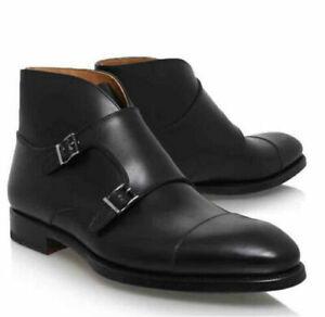 New Handmade Men's Genuine Black Leather Double Monk Toe Cap Chukka Formal Boots