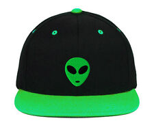 Green Alien Head Embroidered Snapback Hats