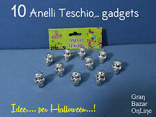 HALLOWEEN ANELLI TESCHIO ARGENTO GADGETS 10 Pz  BABY FESTA HORROR PARTY REGALINI