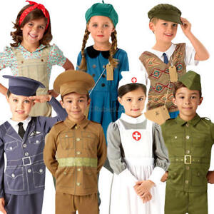 30s Military Kids Fancy Dress Historical 1940s Boys Girls Childrens Costumes New