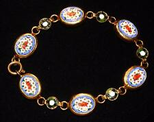 "Vintage Italian Micro Mosaic Millefiori Floral Gold Tone Link 7"" Bracelet Italy"