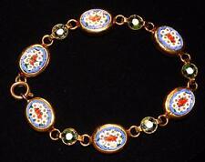 "Vintage Italian Micro Mosaic Millefiori Floral Gold Tone Link 7"" Bracelet Italy"