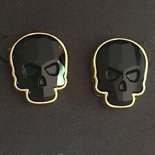 Crystal Skull Earrings Goldtone Jet Black Large